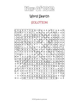 War of 1812 Word Search Worksheet
