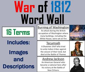 War of 1812 Word Wall Cards