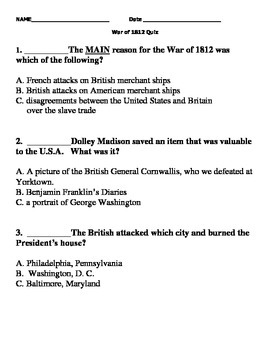 War of 1812 modified quiz