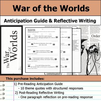 War of the Worlds - Anticipation Guide & Reflection Writing