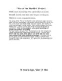 War of the Worlds by Orson Welles Group Activity