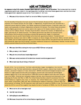 War on Terrorism reading with questions