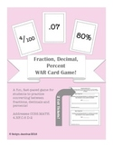 4th/5th/6th CCSS Math WAR card game for decimals, fractions, percentages