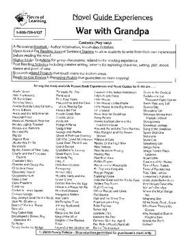 War with Grandpa Literature Guide