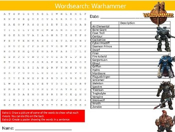 Warhammer Wordsearch Puzzle Sheet Keywords Board Games Strategy Roleplaying