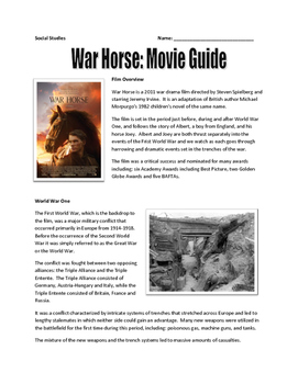 war horse movie guide map assignment letter and newspaper writing key ww1. Black Bedroom Furniture Sets. Home Design Ideas