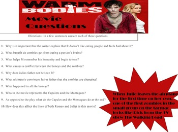 Warm Bodies Movie Questions and Fill-in plot outline