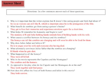 Warm Bodies Movie Questions and Fill-in plot outline by Adam ...