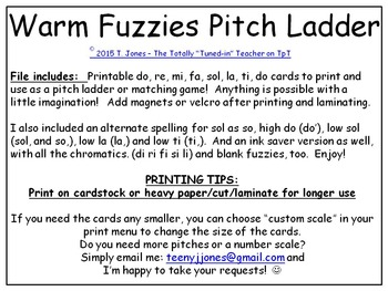 Warm Fuzzies Printable Pitch Ladder