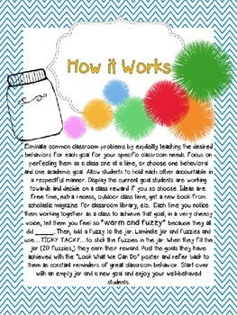 Class Goals and Warm Fuzzy Jar- Visual Classroom Management Tool