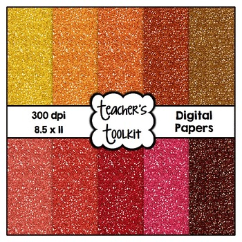 Warm Summer Hues Glitter Digital Background Papers {8.5 x