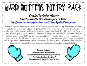 Warm Mittens Poetry Pack