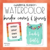 Warm & Sunny Watercolor Binder Covers {Editable}