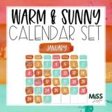 Warm & Sunny Watercolor Classroom Calendar Set