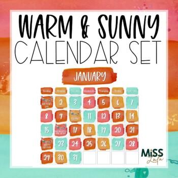 Warm & Sunny Watercolor Calendar Set