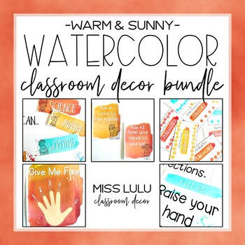 Warm & Sunny Watercolor Classroom Decor Bundle {Growing}