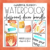 Warm & Sunny Watercolor Classroom Decor Bundle