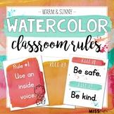 Warm & Sunny Watercolor Classroom Rules {Editable}