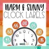 Warm & Sunny Watercolor Clock Labels