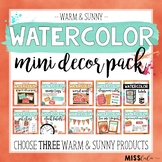 Warm & Sunny Watercolor Mini Decor Pack