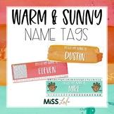 Warm & Sunny Watercolor Name Tags {Editable}