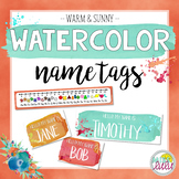 Warm & Sunny Watercolor Name Tags {Editable}