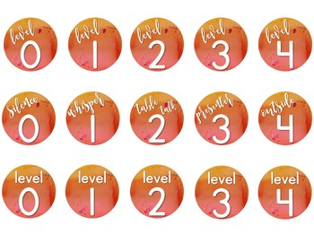 Warm & Sunny Watercolor Noise Level Chart