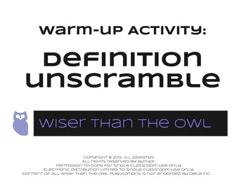 Warm-Up Activity: Marketing Definition Unscramble