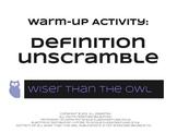 Warm-Up Activity: Marketing Definition Unscramble