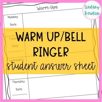 Warm Up/Bell Ringer Sheet