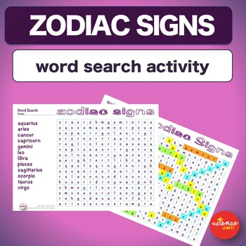 Warm Up * Bell Ringer * Zodiac Signs *  Word search Activity * No Prep