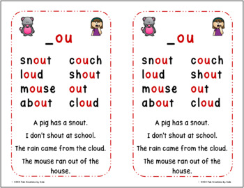 Warm-Up Cards For Bossy R, Diphthongs and Other Word Families