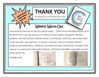 Warm-Up Energy/Systems/Branches of Earth Science