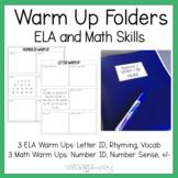 Warm Up Folders: ELA and Math Skill Building