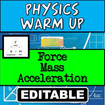 Warm Up: Force, Acceleration, Graphing & Energy