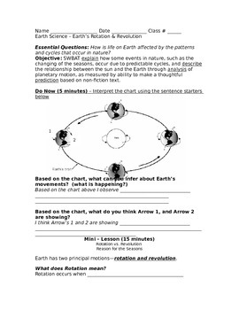 rotation and revolution lesson worksheet by the earth science factory. Black Bedroom Furniture Sets. Home Design Ideas