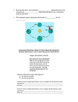 Rotation and Revolution Lesson/Worksheet