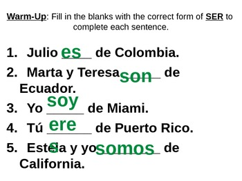 Warm-Up Practice PowerPoints: Fill-in-the-blank SER