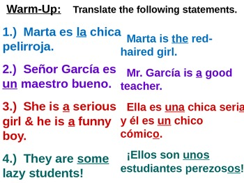 Warm-Up Practice PowerPoints: Spanish Translations