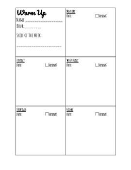 Warm Up Sheet FREEBIE