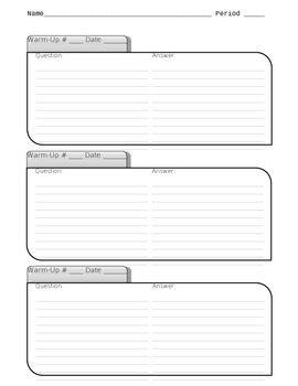 Warm-Up Sheet Template (Activating Prior Knowledge - APK)