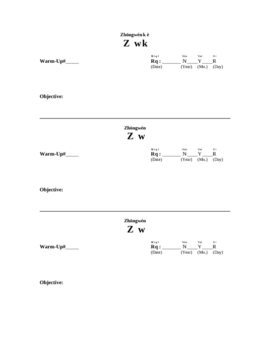 Warm Up Sheet for Chinese Language Classes