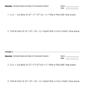Warm-Up: Verifying Factors and Zeros of a Polynomial Function