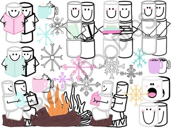 Warm Up With a Good Book Digital Clip Art Set- Color and Black Line COMBO