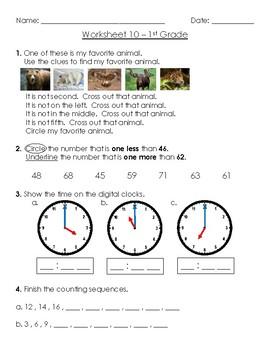 Warm-Up Worksheet 10 - 1st Grade