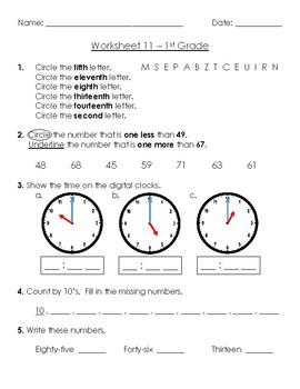 Warm-Up Worksheet 11 - 1st Grade