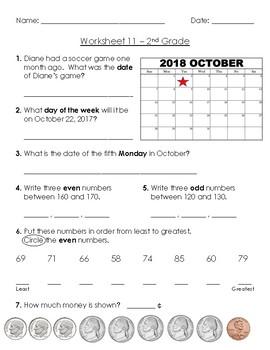 Warm-Up Worksheet 11 - 2nd Grade