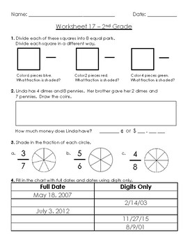 Warm-Up Worksheet 17 - 2nd Grade