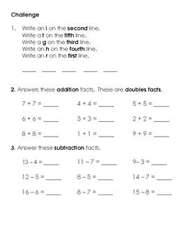 Warm-Up Worksheet 5 - 1st Grade