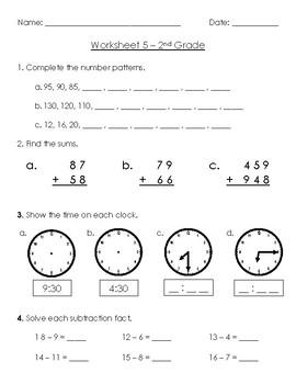Warm-Up Worksheet 5 - 2nd Grade